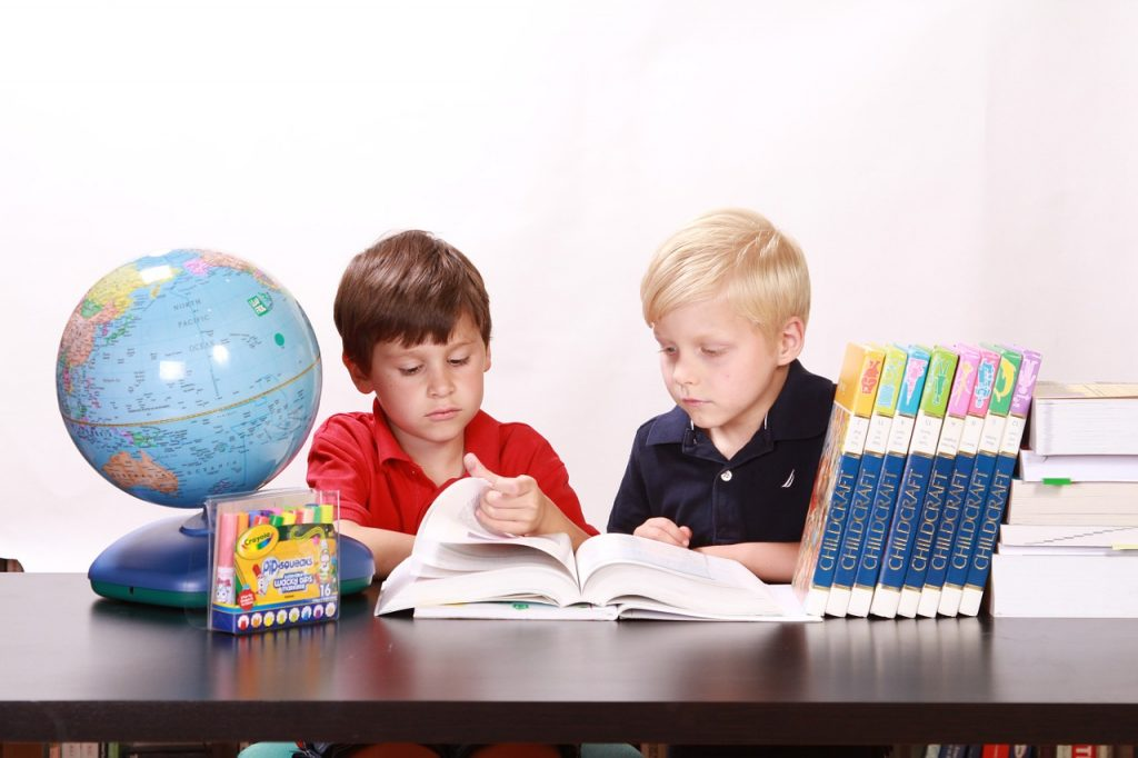 children, studying, togetherness